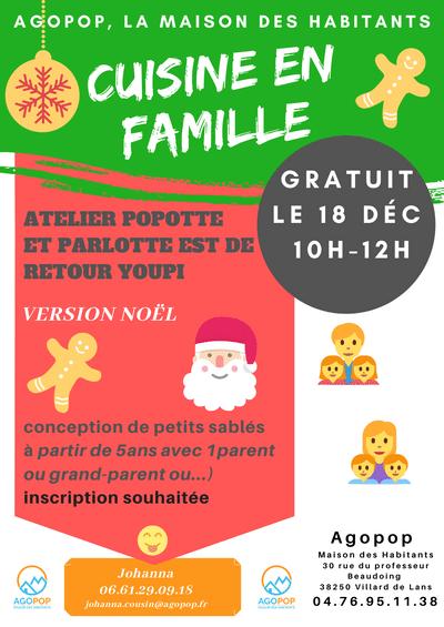 Cuisine en famille : version Noël @ Agopop, Maison des Habitants