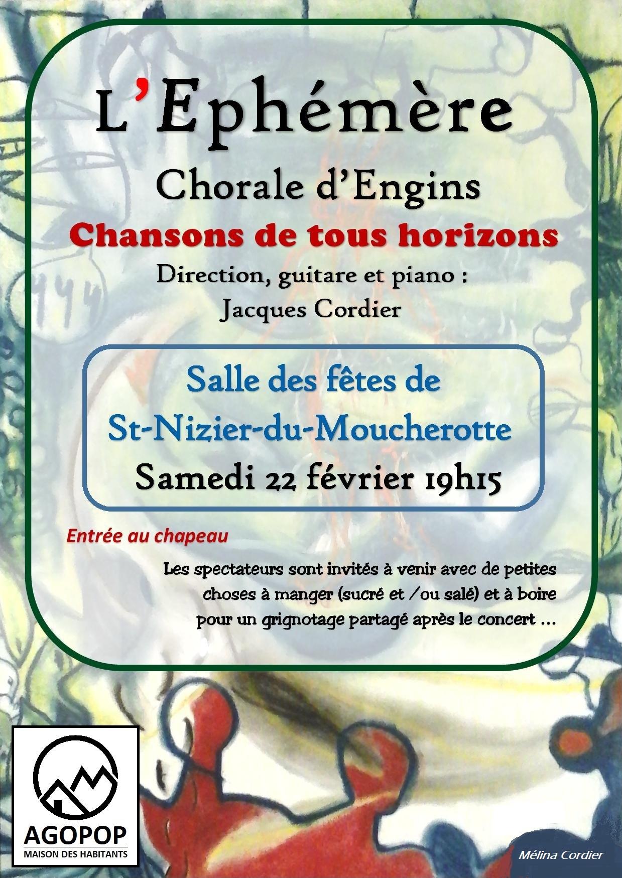 L'Ephémère « Chorale d'Engins » : Chansons de tous horizons @ Salle des Fêtes de Saint Nizier du Moucherotte