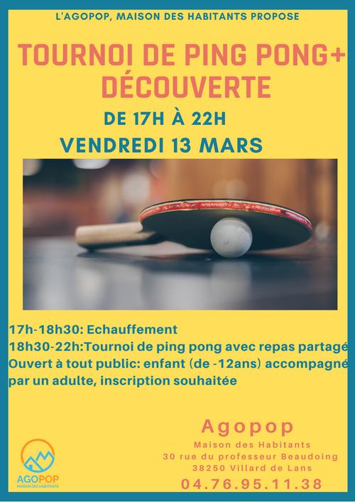 Tournoi & Découverte du Ping Pong @ Agopop, Maison des Habitants