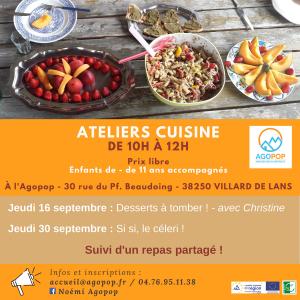 Atelier Cuisine : les desserts à tomber de Christine @ Agopop, Maison des habitants